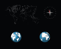 World map and globes. Detailed world map with compass and globes,  illustration Royalty Free Stock Photo