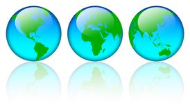 World map globes. Three blue world map globe with reflections isolated on white stock illustration