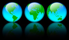 World map globes. Three blue world map globe with reflections over black background royalty free illustration