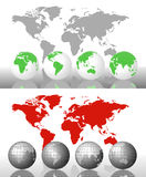 World Map and Globes. Background of a world map and world globes with alternative colors royalty free illustration