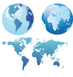 World map and globes Stock Image