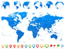 World Map, Globes, Continents, Navigation Icons - illustration Royalty Free Stock Image