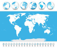 World Map with globes and icons Royalty Free Stock Image