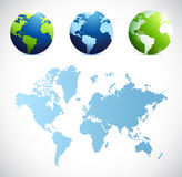 World map and globes illustration design Royalty Free Stock Images