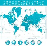 World map and globes with labeling. Vector illustration Royalty Free Stock Images