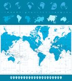 World Map, Globes and Navigation Icons. America in center Royalty Free Stock Photography