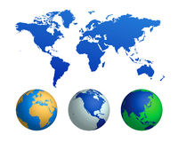 World map and globes (vector) Royalty Free Stock Images