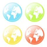 World map glossy icons set. Vector illustration of four differently colored world map glossy modern icons Royalty Free Stock Photography