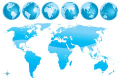 World map glosy blue. Vector illustration of NEW 2011 world map glossy blue with six different globes Royalty Free Stock Image