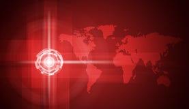 World map and glow circles Royalty Free Stock Image