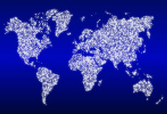 World map with glowing data centers Stock Images