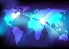World Map and Glowing Fibres Stock Images