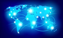 World map with glowing points Royalty Free Stock Image
