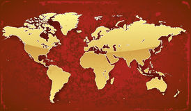 World map. Of gold color on red grunge background. Vector saved as eps-10, file contains objects with transparency Royalty Free Stock Photos