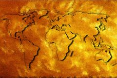 World map of gold foil. Stock Images