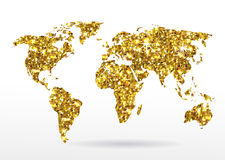 World map of gold glittering stars Royalty Free Stock Images