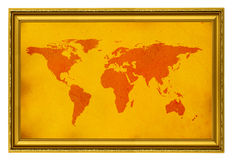 World map in golden frame Royalty Free Stock Photos