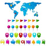 World Map with GPS icons vector illustration