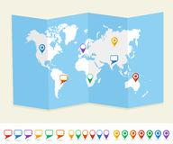 World map GPS location pins travel concept EPS10 v vector illustration