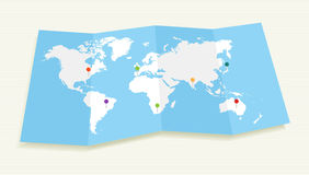 World map with GPS location pushpins EPS10 file. Royalty Free Stock Photo