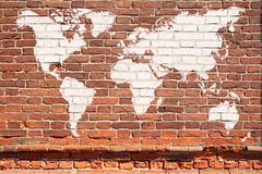 World map graffiti. Antique wall from brick with World map graffiti Royalty Free Stock Images