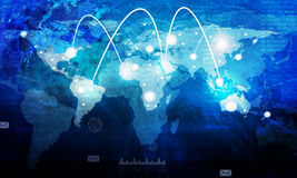 World map with graphs Royalty Free Stock Photo