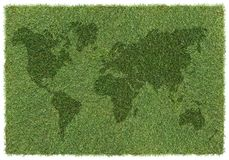 World map on grass Stock Image