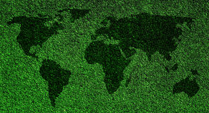 World map on grass Royalty Free Stock Image