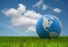 World map on grass Stock Photography