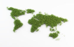 World map grass patch Stock Image