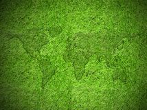 World map with grass Stock Image