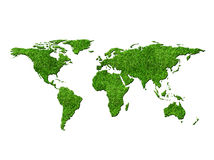World map with grass. Texture isolated on white backgroud Stock Photo