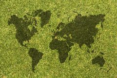 World map on grass texture Royalty Free Stock Photography