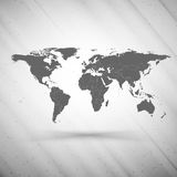 World map on gray background, grunge texture Royalty Free Stock Photo