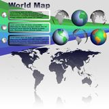 World map on gray background vector. World map with shadow on gray background with world globes vector Royalty Free Stock Photo