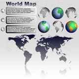 World map on gray background vector. World map with shadow on gray background with world globes vector Stock Image