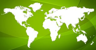 World map. On green background Stock Photography