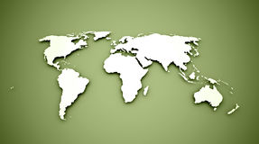 World map on green Royalty Free Stock Images