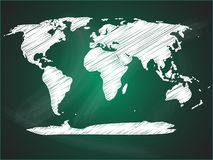 World map on green blackboard Stock Image