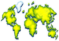 World map with green color on land Stock Images