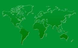 World Map Green Glass Background Stock Photo