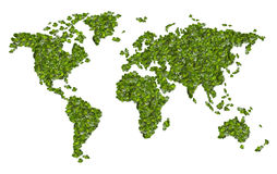 World map from the green grass. Isolated Stock Images