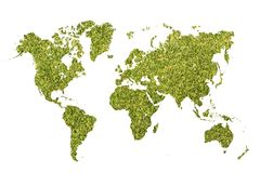 World map with green grass Stock Image