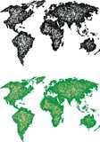 World map. Green world map isolated on the white background Stock Image