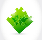 World map green puzzle game illustration design Stock Photography