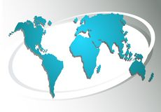 World map on a grey background Stock Photography