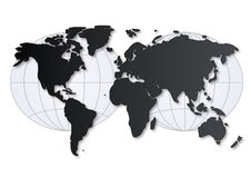 World map with grid. Silhouette world map with grid Royalty Free Stock Image