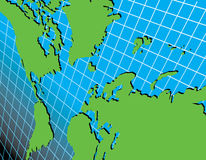 World map on grid at an angle Royalty Free Stock Images