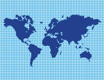 World Map with Grids Stock Photo