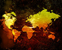 World map on a grunge Stock Images